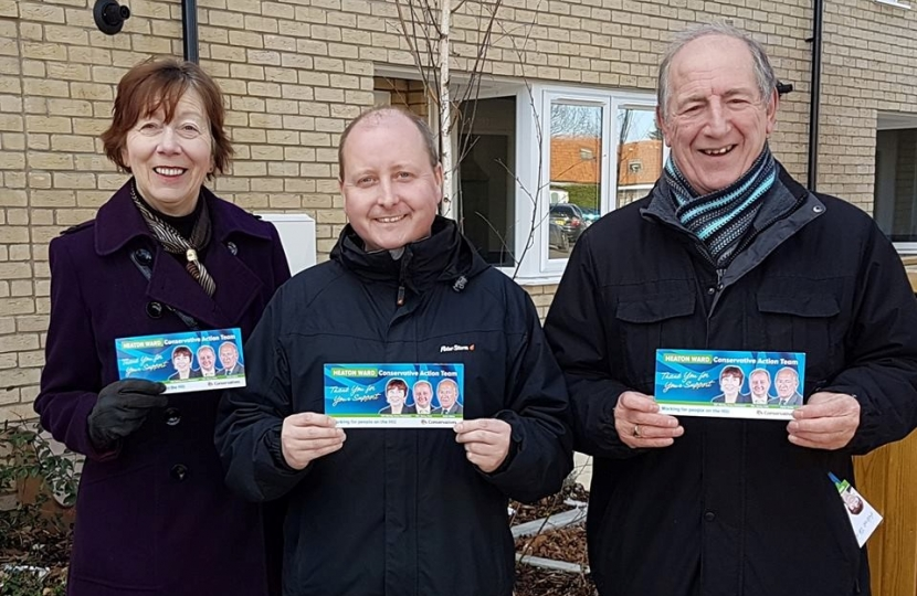 Heaton Ward Action Team: Cllr Wendy Brice-Thompson, Cllr Garry Pain, and Keith Wells